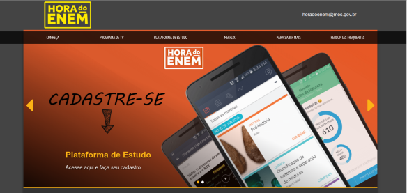 """Fig. 1: Tela inicial do hotsite """"Hora do Enem"""". Imagem: captura de tela"""