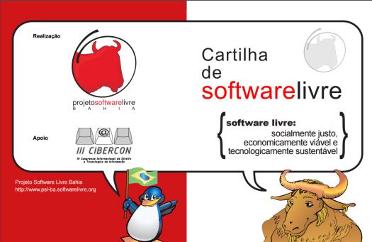 Capa da Cartilha de Software Livre, produzida pelo Projeto Software Livre Bahia: predominância do tipo textual expositivo. Link para ler a cartilha: http://www.igc.usp.br/pessoais/guano/downloads/cartilha_v.1.1.pdf. Imagem: captura de tela feita em 23 de agosto de 2016.
